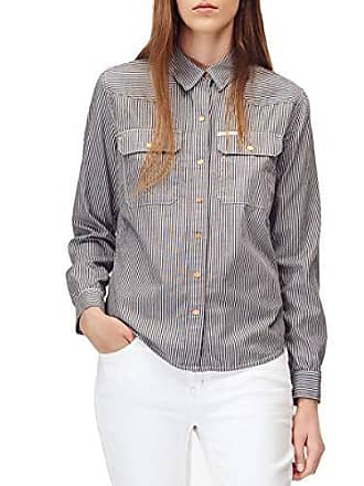 1a832651 Calvin Klein Jeans Womens Long Sleeve Button Down Western Shirt with Rail  Road Stripe, American