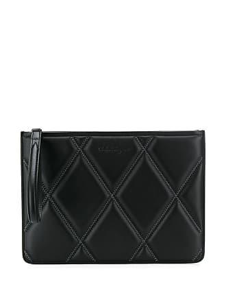 Salvatore Ferragamo diamond quilt clutch bag - Preto