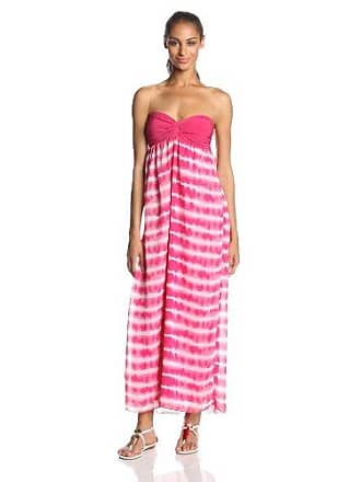 f12c3936d5e5 Star Vixen Womens Strapless Solid Bratop Chiffon Skirt Maxi Dress, Fush  Tiedye, Large