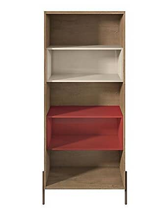 Manhattan Comfort 350621 Joy Series Modern 5 Shelf Bookcase, Red/Off-White