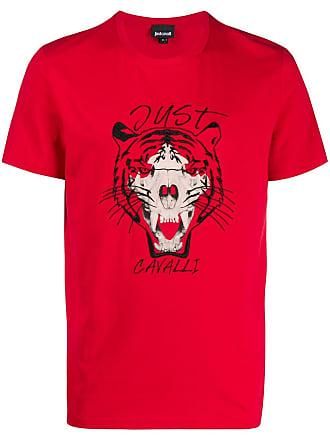 Just Cavalli Camiseta com tigre e caveira - Vermelho
