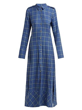 Khaite Daniella Checked Cotton Blend Shirtdress - Womens - Blue