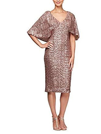 Alex Evenings Womens Petite Micro-Pleated Column Dress with Beaded Neckline, Rose Gold, 10P