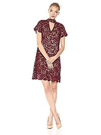 Blu Pepper Juniors Haltered Neck LACE Dress, Burgundy, Large