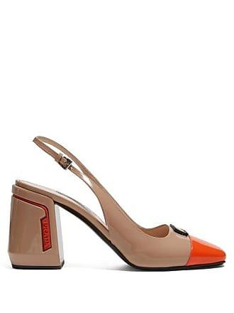 c9eb1d680 Prada Patent Leather Slingback Pumps - Womens - Beige Multi