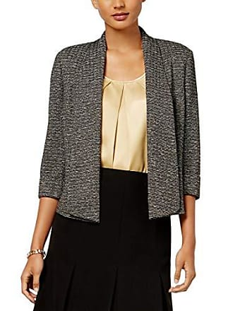 Kasper Womens Metallic Knit Flyaway Jacket, Ivory/Black, 8