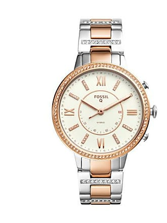 Zales Ladies Fossil Q Virginia Crystal Accent Two-Tone Hybrid Smart Watch with White Dial (Model: Ftw5011)