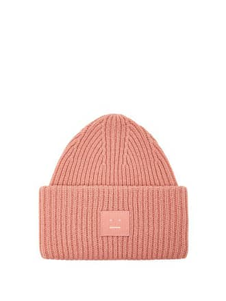 00bc6b599fde Acne Studios Pansy S Face Ribbed Knit Beanie Hat - Mens - Pink