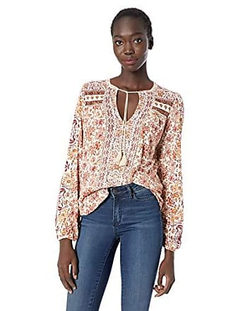 Lucky Brand Womens Printed Peasant TOP, Natural Multi, S