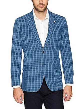 Nautica Mens Seersucker Sportcoat Blazer, Blue Check, 38 Regular