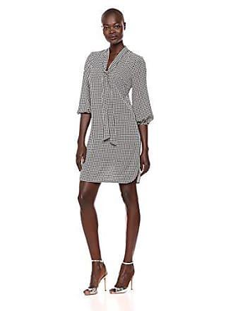 72d6b0b0159a Adrianna Papell Womens Long Sleeve Pebble Stretch Chiffon Sheath Dress,  Black/Ivory, 8