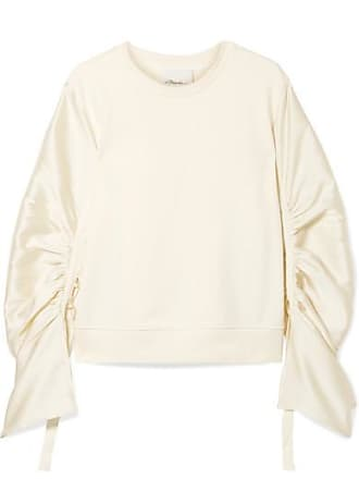 3.1 Phillip Lim Ruched Grosgrain-trimmed Satin-twill And Cotton-jersey  Sweatshirt - d2215a31c