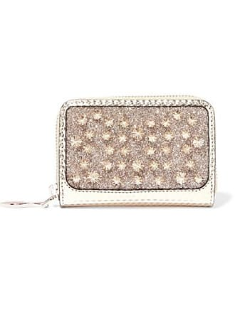 ff37a64f6e Christian Louboutin Panettone Spiked Glittered Metallic Leather Wallet -  Silver
