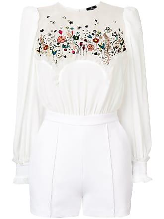 Elisabetta Franchi floral embroidered playsuit - Branco