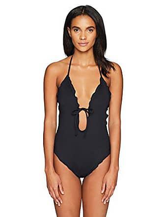 053d5208406 La Blanca Womens Tie Front Keyhole Halter One Piece Swimsuit, Black/Plaza  De Espana