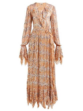 a9b287fdc3737 Ashish Sequin Embroidered Ruffled Wrap Dress - Womens - Beige Multi