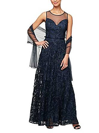 Alex Evenings Womens Cap Sleeve Embroidered Gown Dress (Petite and Regular Sizes), Navy, 6P