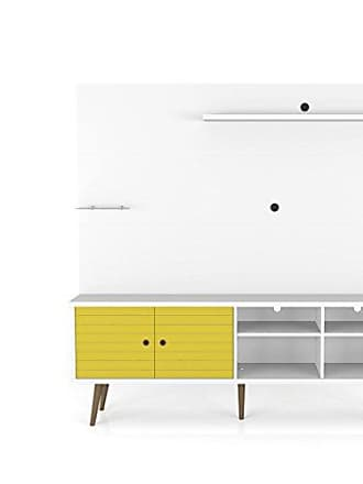 Manhattan Comfort 214BMC64 Liberty Entertainment Center and TV Stand, White/Yellow