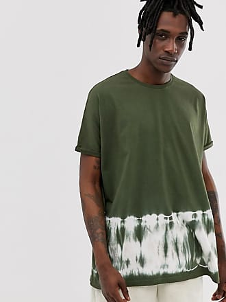 0a90a04bd Asos extreme oversized longline t-shirt with roll sleeve in bleach wash in  khaki