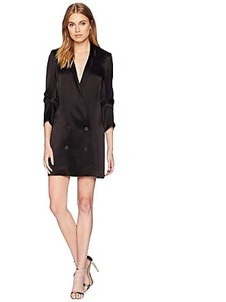 ab950e7f1a5d4 Halston Heritage Bracelet Sleeve Double Breasted Shirtdress (Black) Womens  Dress