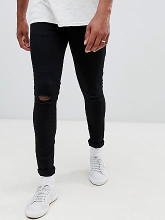 New Look skinny jeans with knee rip in black wash - Black
