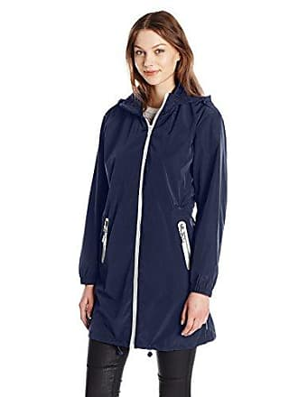 A|X Armani Exchange Womens Zip Up Hooded Water Resistent Rain Coat, Navy 1510, X-Large