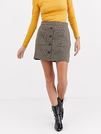 Jacqueline de Yong Mandy button through a line checked skirt-Black