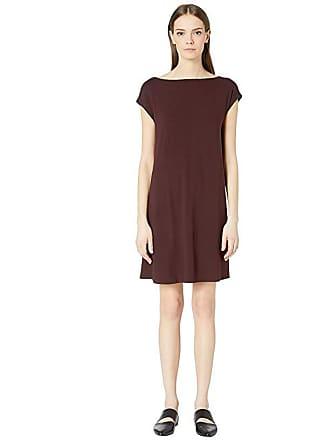 Eileen Fisher Viscose Jersey Back Twist Dress (Cassis) Womens Dress