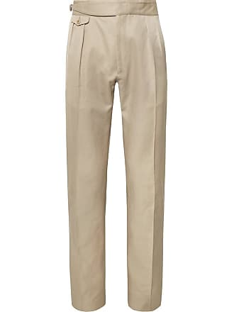 Zanella Normon Tapered Pleated Cotton And Linen-blend Trousers - Sand
