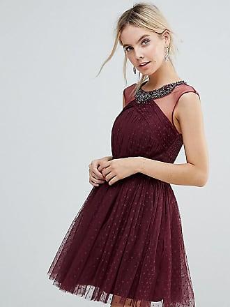 381943efcae05 Little Mistress Petite Embellished Mesh Top Full Prom Skater Dress