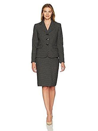 Le Suit Womens Novelty Dot 3 Button Skirt Suit, Black/Ivory, 6