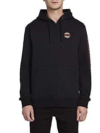 Volcom Mens Supply Stone Hooded Zip Up Sweatshirt, Black, Medium