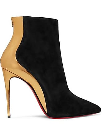 39dc95ff3948 Christian Louboutin Delicotte 100 Suede And Mirrored-leather Ankle Boots -  Black