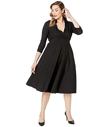 Unique Vintage Plus Size Anna Wrap Dress (Black) Womens Dress