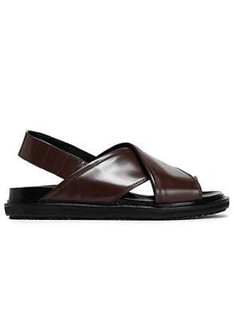 Marni Marni Woman Fussbett Glossed-leather Slingback Sandals Chocolate Size 39.5