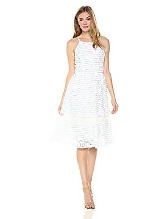 J.O.A. JOA Womens Lace Mix Dress W/Button Down Back Detail, Blue/White Small