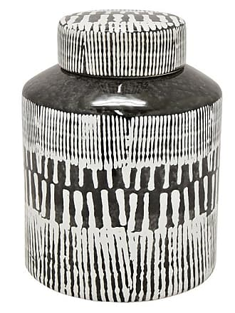 Three Hands Black and White Ceramic Jar with Lid - 85186