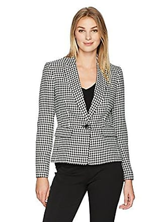 Kasper Womens Classic Houndstooth 1 Button Notch Lapel Jacket, Black/Ivory, 4