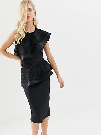 Asos Bodycon-klänning i midilängd med plisserat lager - Svart f66fdf1457fcc