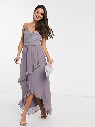 Little Mistress Paige lace detail maxi dress with frill in lavender-Purple