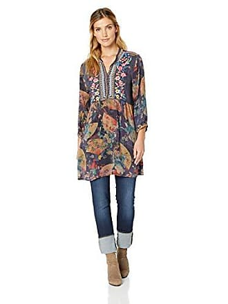 Johnny Was Womens Embroidered Panel Tunic Dress, Multi, XL