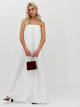 d5b4ec008a9 Asos minimal bandeau wide leg jumpsuit with pleat detail - White