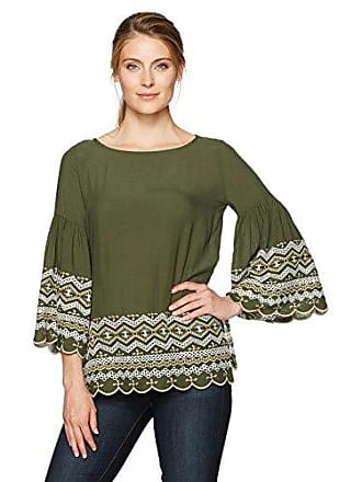 Karen Kane Womens Embroidered Bell Sleeve Top, Olive, S