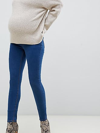 9da19d50b4870 Asos Maternity ASOS DESIGN Maternity Ridley high waisted skinny jeans in  flat blue wash with under
