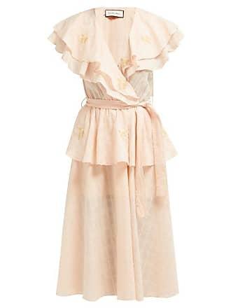 Innika Choo Rose Embroidered Cotton Voile Midi Dress - Womens - Pink Multi