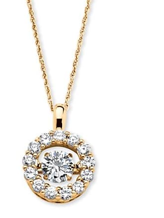PalmBeach Jewelry 1.76 TCW Round CZ in Motion Cubic Zirconia Halo Necklace in 14k Gold over Sterling Silver 18