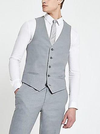 River Island Mens Grey textured suit vest