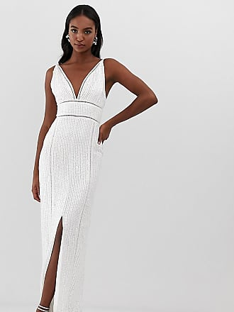 3a7722669ff Asos Tall sequin maxi dress with ladder trim - White