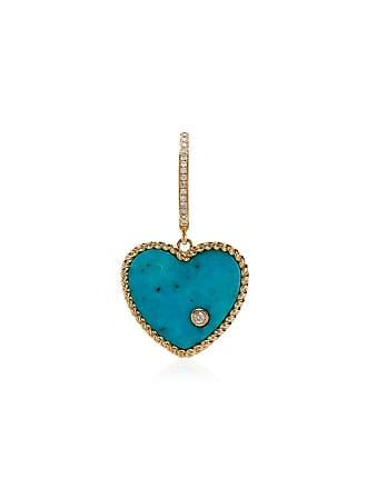 Yvonne Léon 18k gold, diamond and turquoise singular drop earring