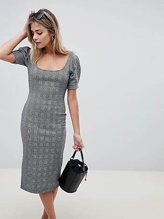 Asos check pencil dress with scoop neck - Multi